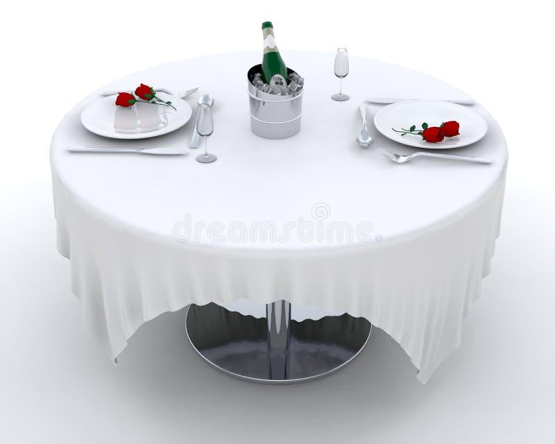 Cena romántica ilustración del vector