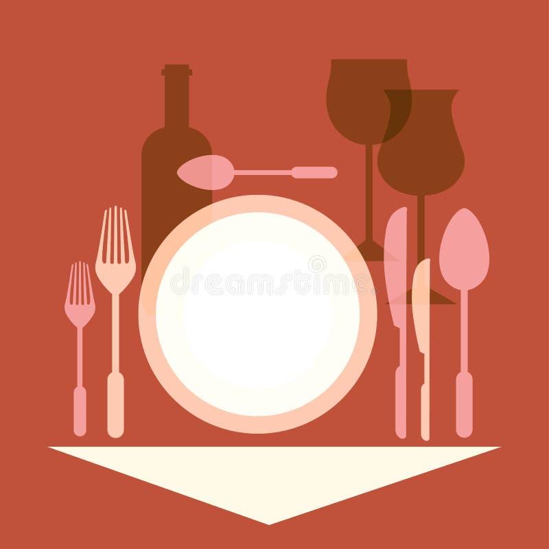 Cena romántica, ajuste de la tabla en un restaurante stock de ilustración