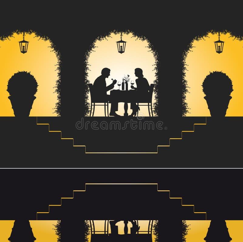 Cena romântica do restaurante ilustração do vetor
