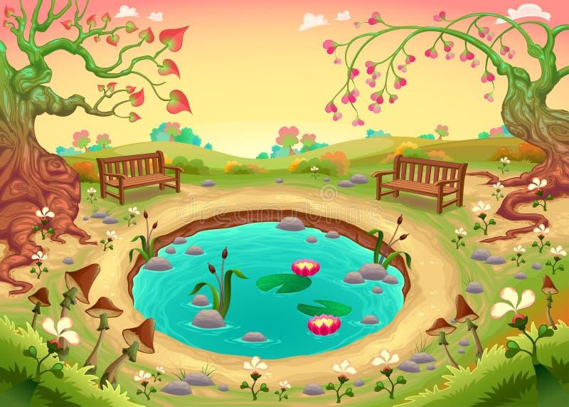 Cena romântica no parque ilustração do vetor