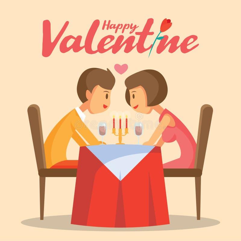 Cena romantica della candela di giorno di biglietti di S. Valentino con l'illustrazione adorabile di vettore delle coppie illustrazione vettoriale