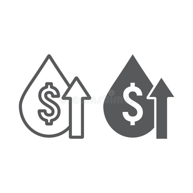 Cena ropy linia, glif ikona, paliwo i rynek, oliwimy kosztu przyrosta znaka, wektorowe grafika, liniowy wzór na bielu ilustracja wektor