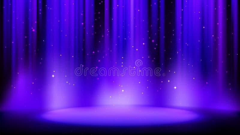 Cena roxa azul vazia com fundo escuro, lugar iluminado pelo projetor macio do índigo, partículas efervescentes brilhantes Fundo d ilustração stock