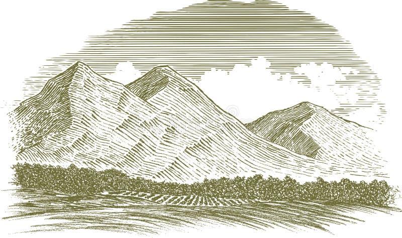 Cena rural da montanha do bloco xilográfico ilustração do vetor