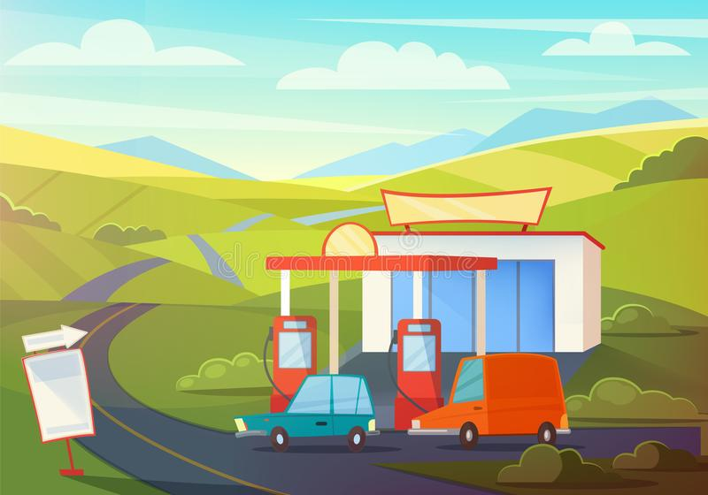 Cena rural da paisagem do verão com posto de gasolina, montes e céu Óleo, gasolina que abastece-se com carros dos desenhos animad ilustração royalty free