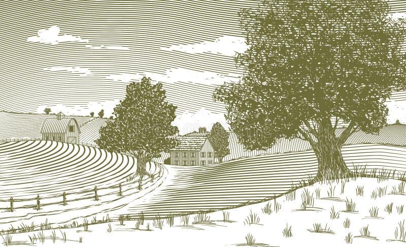 Cena rural do bloco xilográfico ilustração stock