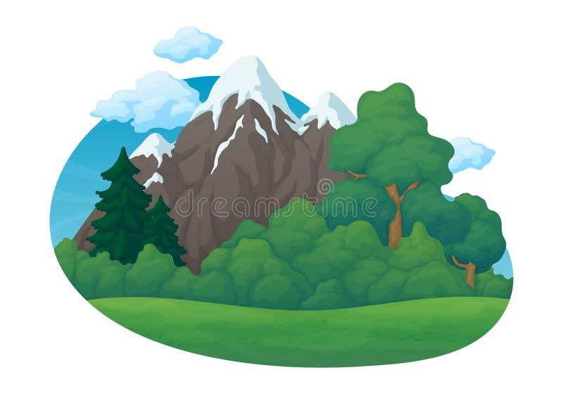 Cena rural do dia de verão Prado verde com pinho e abeto e arbustos Montanhas cobertos de neve, céu azul com nuvens ilustração stock