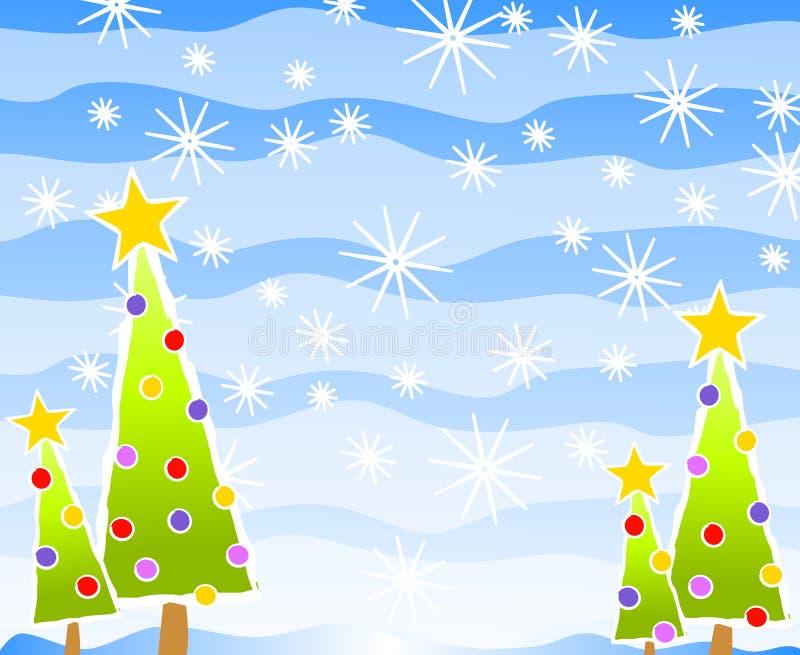 Cena simples da árvore de Natal ilustração do vetor
