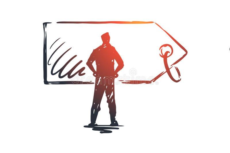 Cena, sprzedaż, etykietka, rabat, etykietki pojęcie Ręka rysujący odosobniony wektor ilustracji