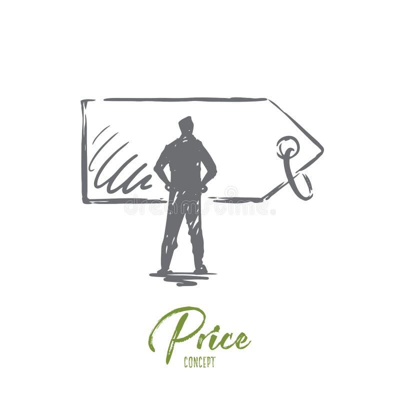 Cena, sprzedaż, etykietka, rabat, etykietki pojęcie Ręka rysujący odosobniony wektor royalty ilustracja