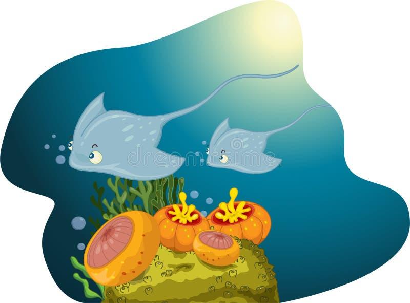 Cena subaquática ilustração stock