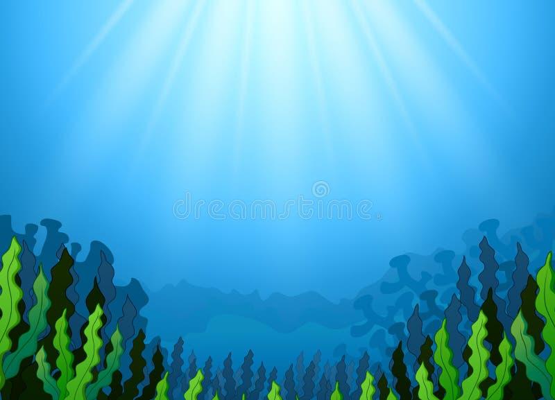 Cena subaquática com alga ilustração stock