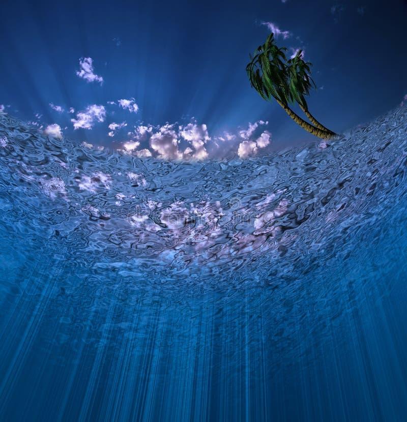 Cena subaquática com palmas ilustração do vetor