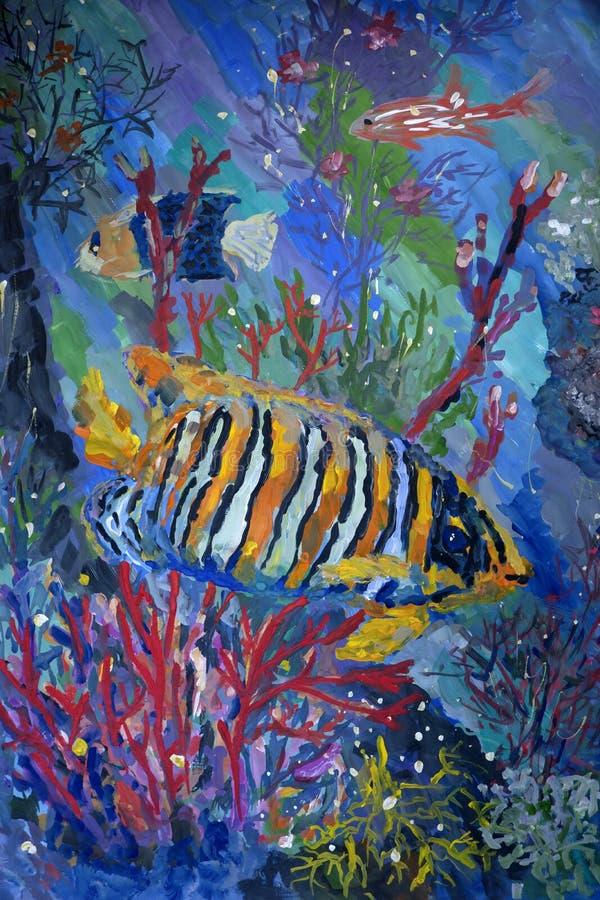Cena subaquática com peixes, pintura do guache da fantasia ilustração do vetor