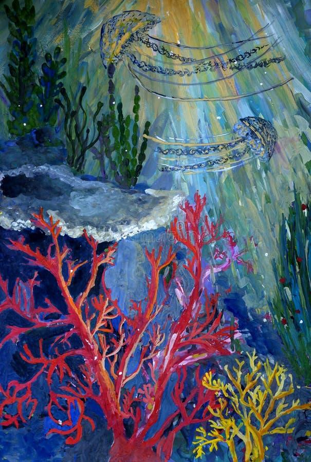 Cena subaquática com pintura do guache da fantasia das medusas ilustração do vetor