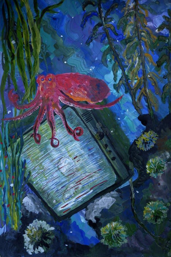 Cena subaquática com pintura do guache da fantasia do polvo ilustração royalty free