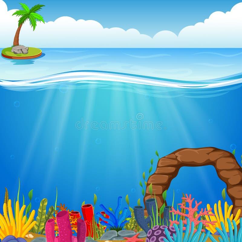 Cena subaquática com recife de corais tropical ilustração do vetor