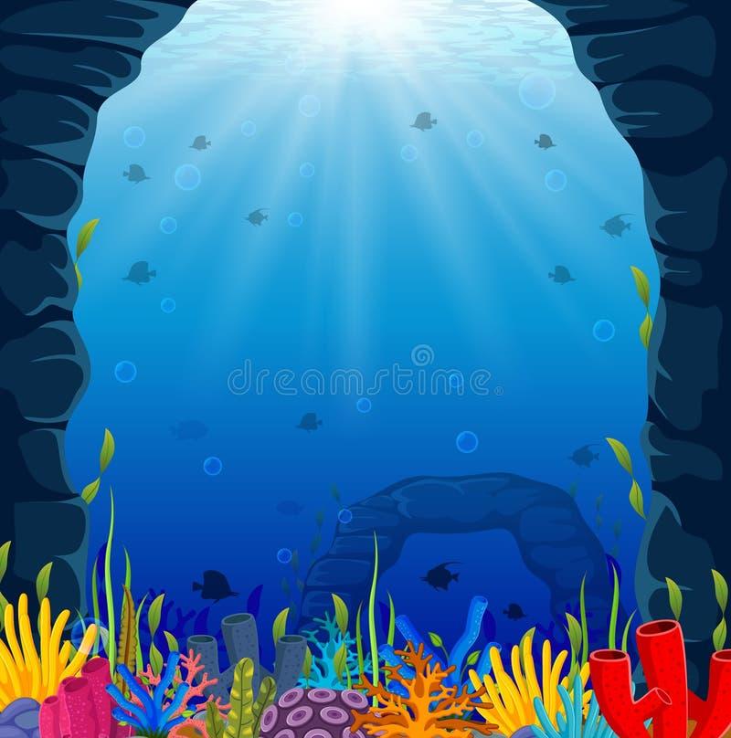 Cena subaquática com recife de corais tropical ilustração stock