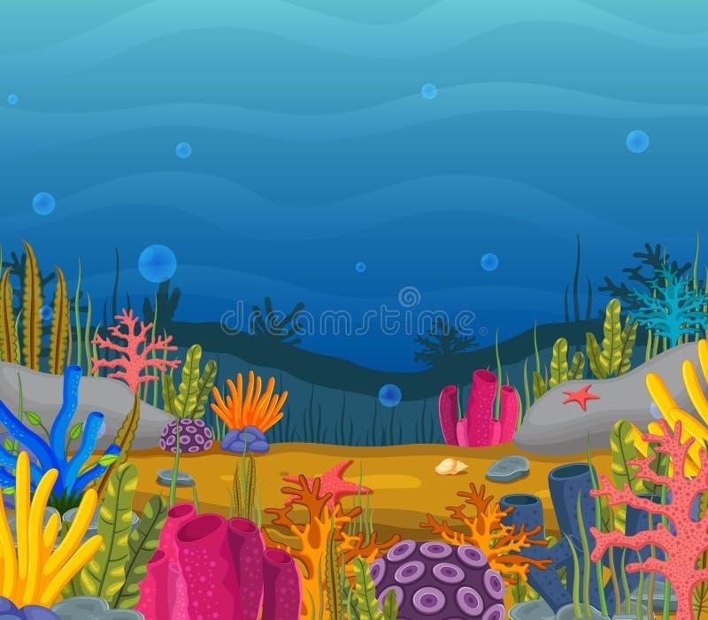 Cena subaquática com recife de corais tropical ilustração royalty free