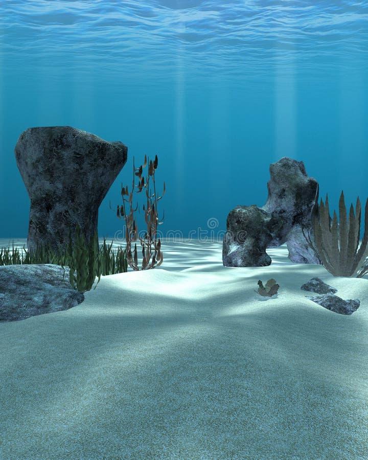 Cena subaquática com rochas e vegetação ilustração do vetor