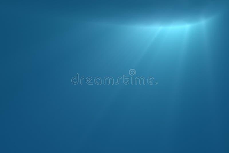 Cena subaquática com sunrays ilustração royalty free