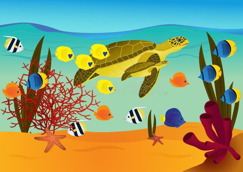 Cena subaquática com tartarugas dos desenhos animados ilustração stock