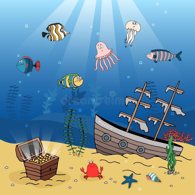 Cena subaquática de um navio e de um tesouro afundado ilustração royalty free