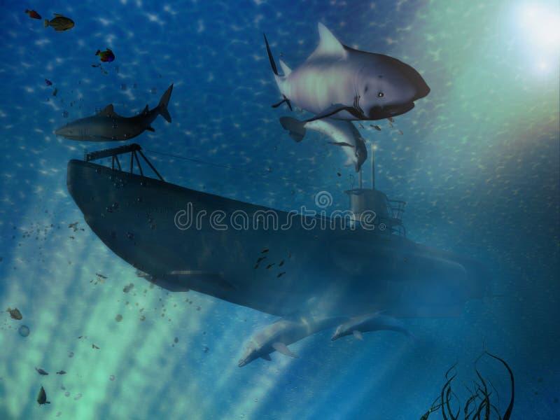 Cena submarina ilustração stock