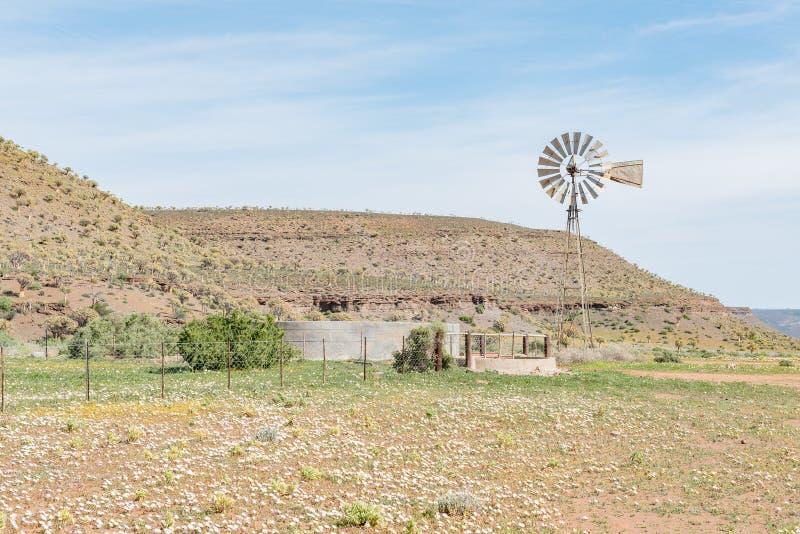 Cena típica da exploração agrícola com o moinho de vento e a represa de bombeamento da água fotos de stock royalty free