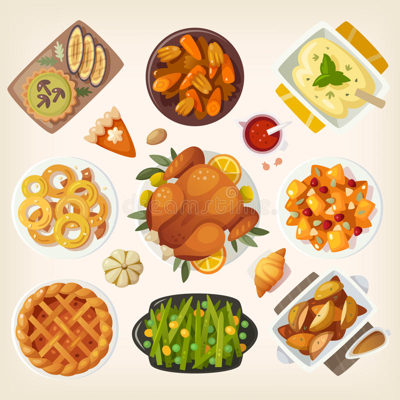 Cena tradicional de la acción de gracias stock de ilustración