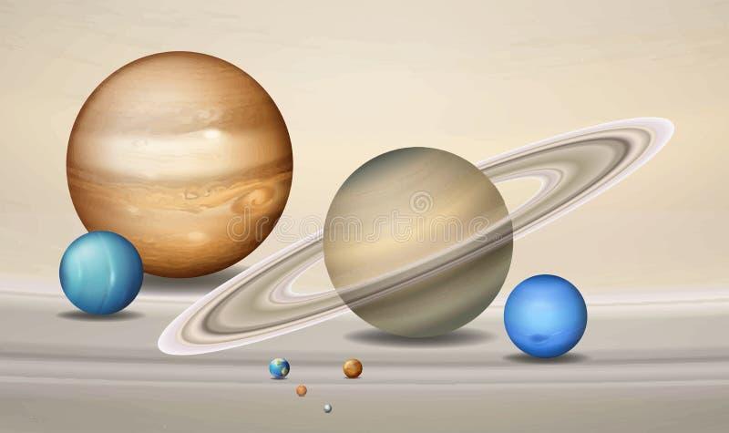 Cena tridimensional do conceito dos planetas ilustração stock