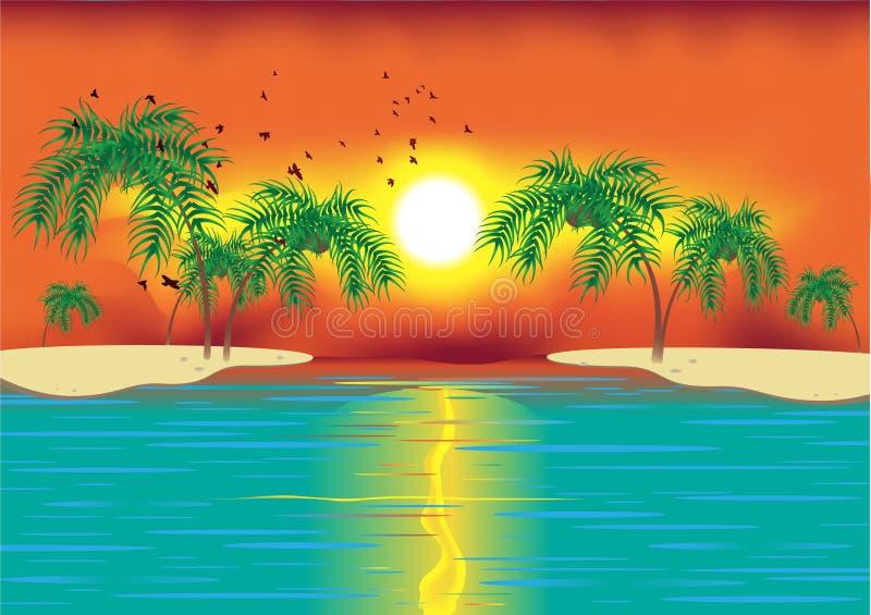 Cena tropical ilustração stock