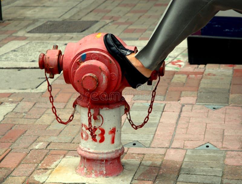 Cena urbana da boca de incêndio de incêndio fotografia de stock