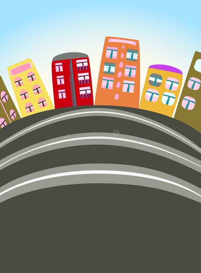 Cena urbana dos desenhos animados ilustração stock