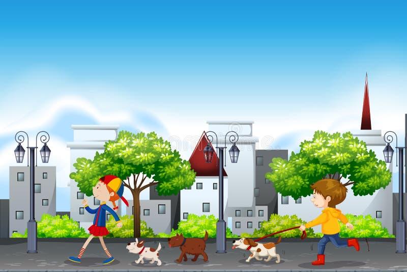 Cena urbana dos povos e do cão ilustração royalty free