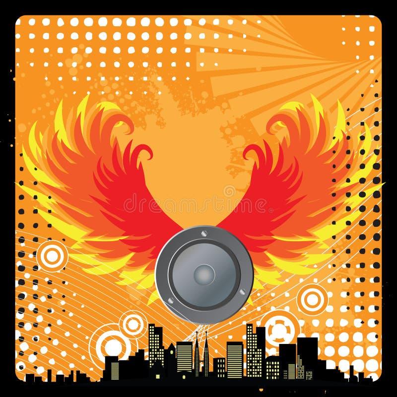 Cena urbana moderna da música, retr ilustração do vetor