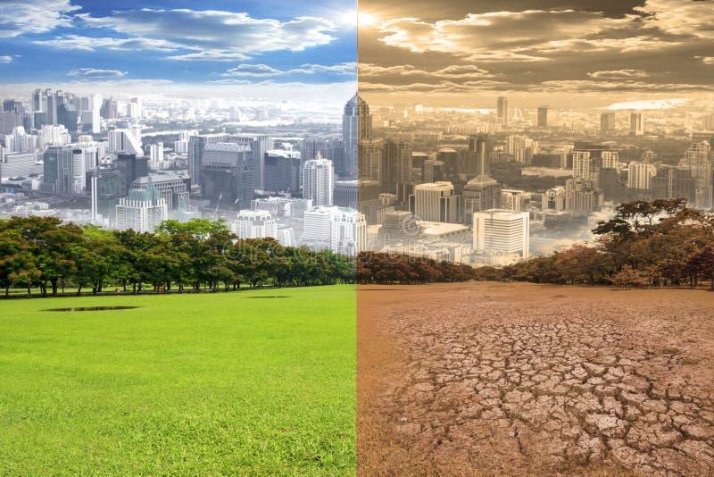 Cena urbana que mostra o efeito de alterações climáticas do ambiente foto de stock royalty free