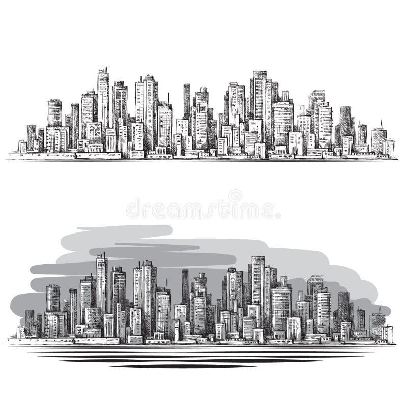 Cena urbana tirada mão cityscape ilustração do vetor