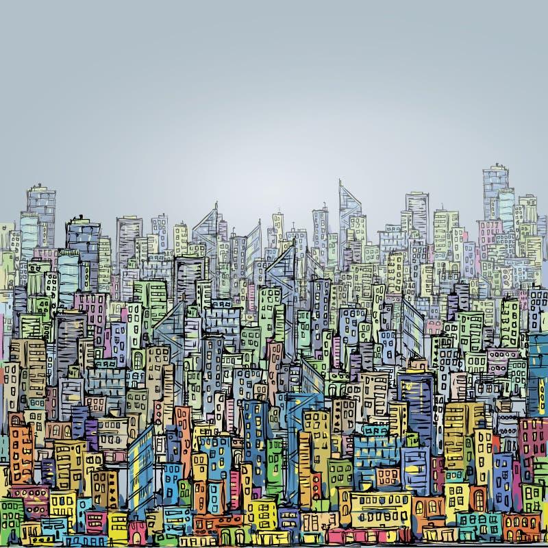 Cena urbana tirada mão cityscape ilustração royalty free