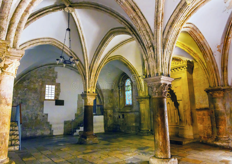 Cenacle Last Supper Room Crusader Building Jerusalem Israel. Site of Last Supper, although Church established above the site of the Last Supper, later became royalty free stock image