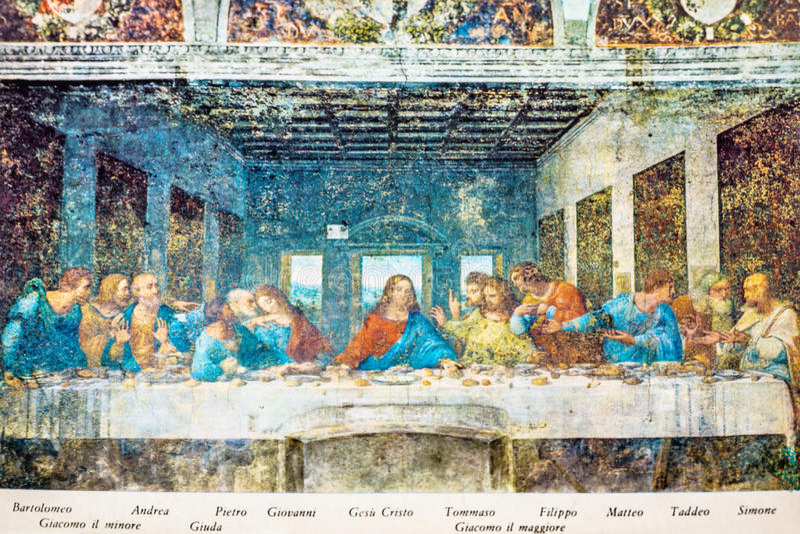 Cenacolo målningvykort royaltyfri bild