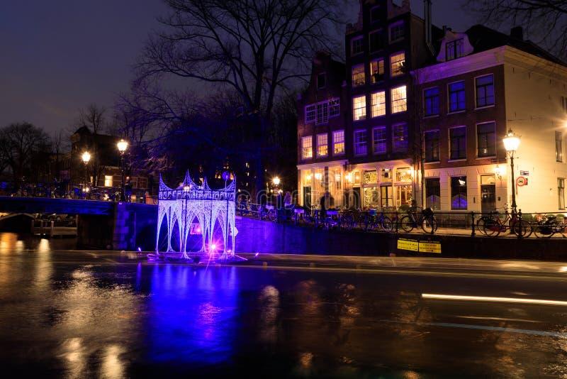 Cenador luminoso en el agua fotografía de archivo libre de regalías