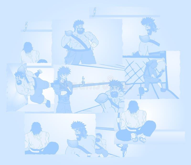 Cenas azuis ilustração do vetor