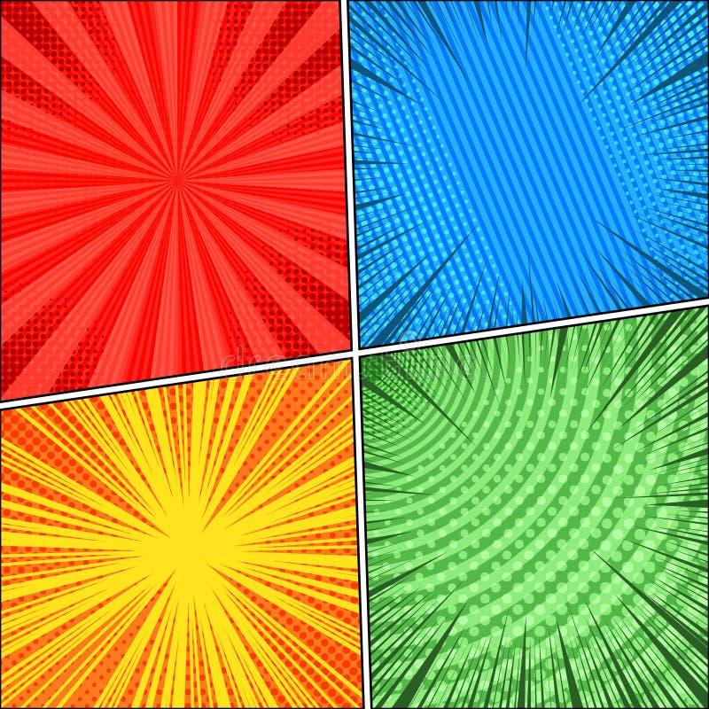 Cenas coloridas da banda desenhada quatro ajustadas ilustração stock