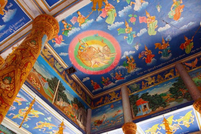 Cenas da Buda em Wat Nokor foto de stock