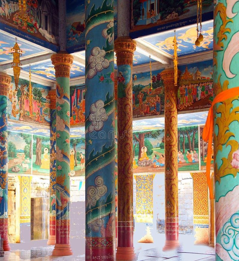 Cenas da Buda em Wat Nokor fotos de stock royalty free