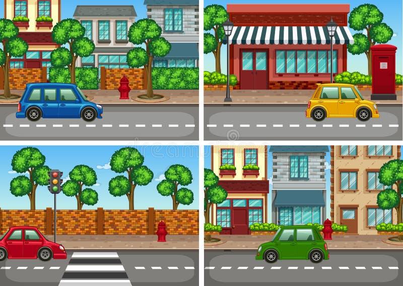 Cenas da cidade com o carro na estrada ilustração stock