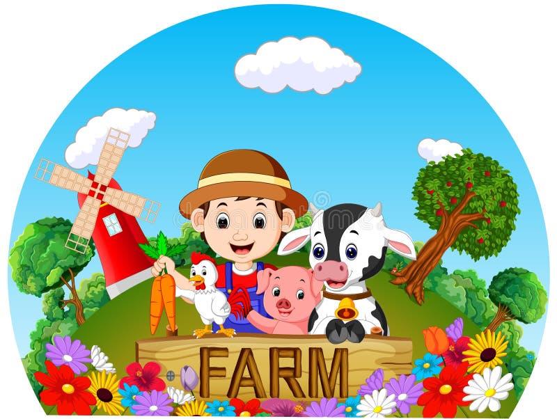 Cenas da exploração agrícola com muitos animais e fazendeiros ilustração do vetor