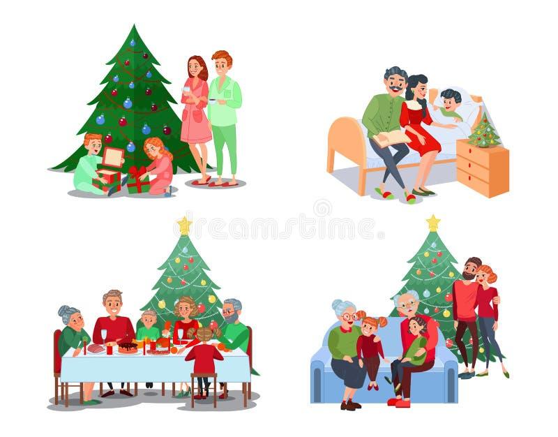 Cenas da família do Natal As crianças abrem presentes Jantar de Natal da família Grandparents com netos ilustração do vetor