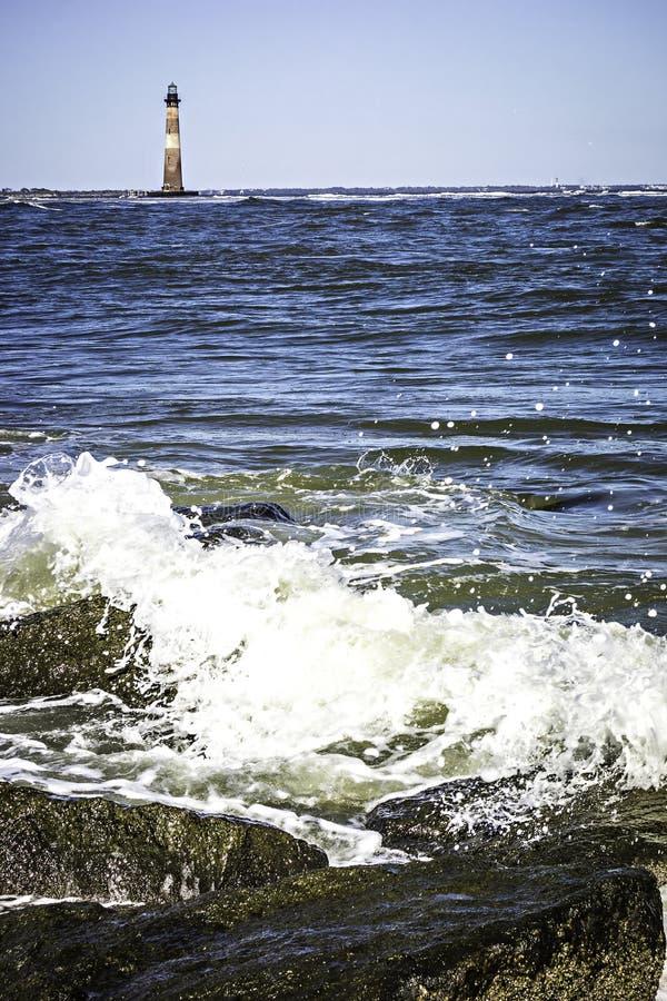 Cenas da natureza perto da praia do farol da ilha de morris imagens de stock royalty free